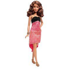 Barbie Fashionista Vestido Vermelho Coral com Top Preto