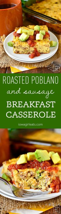 Gluten-Free Roasted Poblano and Sausage Breakfast Casserole is deliciously filling with a warming, mild spice. Easy to make ahead, too!   iowagirleats.com