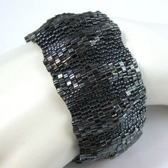 Large Gothic Ripples Peyote Cuff 2578 by SandFibers on Etsy