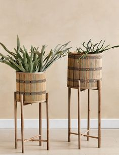 This set of two bamboo plant stands come on collapsable wooden legs - you could even use the pots on their own if you wish. They can be used with real or faux plants to add texture and interest to a room. Bamboo Trellis, Bamboo Plants, Faux Plants, Indoor Plants, Gold Home Accessories, Decorative Accessories, Wooden Plant Stands, Hanging Baskets, Recycled Glass