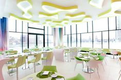 The NHow Hotel in Berlin  German architect Sergei Tchoban and Egyptian designer Karim Rashid worked together to surmount the task at hand, to marry the industrial style of local Berlin architecture with an unexpected and hip twist.