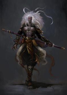 Fallen Monkey by Arif Wijaya Fantasy Kunst, Dark Fantasy Art, Fantasy Artwork, Fantasy Character Design, Character Inspiration, Character Art, Fantasy Races, Fantasy Warrior, M Anime