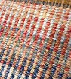 Columns - Red/Blue sample handwoven rug.