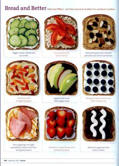 different kinds of healthy sandwiches