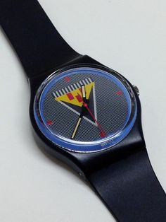 Vintage Swatch Watch Lancelot GB110 1986 1980's Black Blue Red Yellow Retro #Swatch #Casual