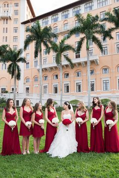 Red bridesmaid dress idea - chiffon floor-length gowns {Vanessa Velez Photography}