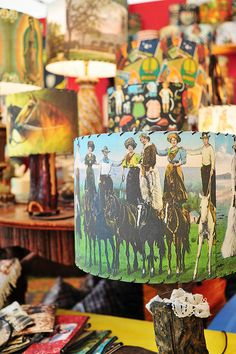 Love this lamp! Warrenton Antique show, Elizabeth & Chris - booth right next door.On the road by Warrenton Grocery Kitsch, Vintage Cowgirl, Cowboy And Cowgirl, Vintage Western Decor, Cowboy Ranch, Antique Show, Ranch Style, The Ranch, Lamp Shades