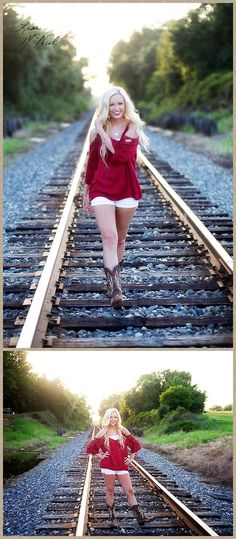 Click the pic for 25 more photos of a beautiful Texas high school senior cheerleader full of spirit and spunk, Flower Mound, Dallas Photographer, railroad tracks