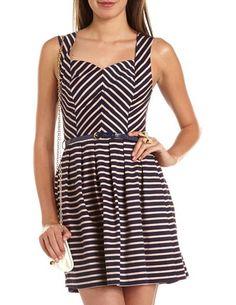 Belted Chevron Stripe A-Line Dress: Charlotte Russe
