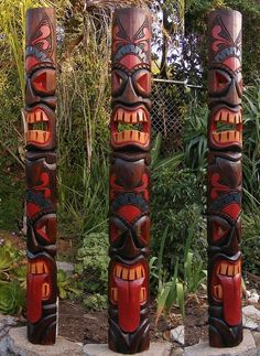 "Tribal Tiki Tongue Wood Wall Mask Patio Tropical Bar Decor 60"" in Home & Garden, Home Décor, Masks 