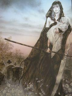 Hel goddess of death by Luis Royo Dark Fantasy Art, Fantasy Kunst, Fantasy Women, Dark Art, Norse Goddess, Norse Mythology, Legends And Myths, Luis Royo, Norse Vikings