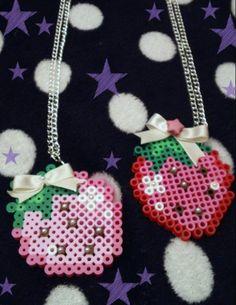 Kawaii Strawberry Pixel Necklace by KreepyKawaii on Etsy, $8.00