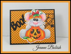 A Stroke of Jeanne-ius  Papercrafting: BOO!  Halloween Pumpkin Mouse Card