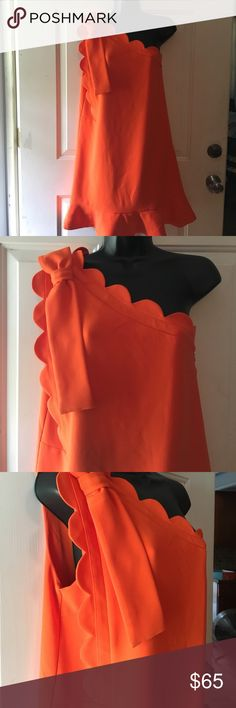 Victoria Beckham Target Ruffle One Shoulder Dress Victoria Beckham By Target 🎯 Ruffle Orange Dress. One sided scalloped with bow. NWOT Victoria Beckham for Target Dresses One Shoulder