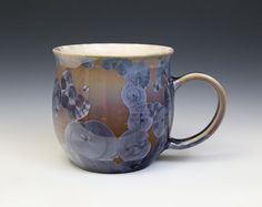 Crystalline 21 oz Mug Purple On Tan Pink to Mauve Fade with Glossy White Cup Ceramics Pottery by Moonlit Method Greg and Pamela Beckman