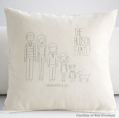 Customised family pillow, so cute! and would be easy to draw on aswell.