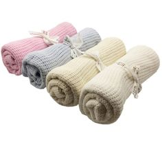 Newborn Baby Blankets Swaddling Infant Soft Cotton Crochet 100cmX75cm Candy Color Prop Crib Sleeping Bed Supplies Hole Wrap
