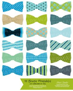 18 BLUE GREEN GOLD Bowties / Printable Party by HuesPrintables, $3.50