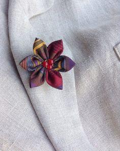 Lapel Flower Pin Silk Kanzashi Mens Custom Jewel Tones Japanese Boutonniere
