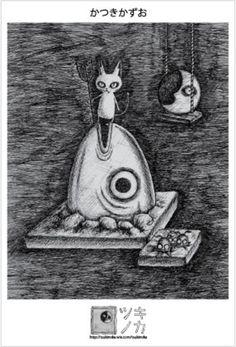 ポストカード・デビ猫 サカナ #cat #postcart #devi #drawing