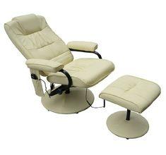 Homcom Fauteuil de massage vibration electrique relaxation avec chauffage  crème ed107ff833c6