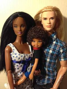 Mixed race Barbie family. So cute! The world is very diverse!