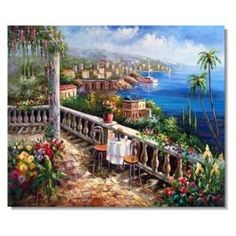 Italian Mediterranean Seascape Old Town Impressionist Landscape Oil Painting Canvas Art Mediterranean Paintings, Mediterranean Sea, Classic Paintings, Beautiful Paintings, Jesus Painting, Painting Canvas, Canvas Art, Impressionist Landscape, Nature Beach