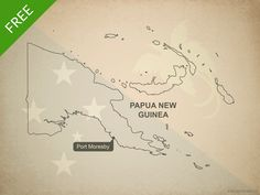 Free vector map of Papua New Guinea outline - Printable map and editable vector map