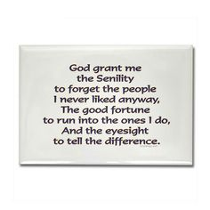 The Senility prayer instead of the Serenity prayer.  There's a time and place for everything.