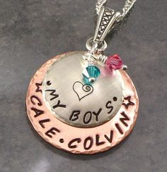 Mothers Personalized Necklace - My Boys - Mommy Pendant with Kids Names in Floridian Font - Sterling Silver and Copper Metal Jewelry via Etsy