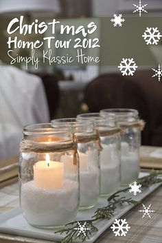 Candles in jars for Christmas centerpiece