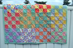 16 Patch Baby Quilt Vintage Style Patchwork Baby by swingkitten