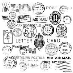 Air Mail Vintage Stamps - Buy this stock vector and explore similar vectors at Adobe Stock Decoupage Vintage, Vintage Stamps, Vintage Labels, Fabric Stamping, Stamping Nail Art, Postcard Layout, Postcard Display, Diy Postcard, Postcard Template