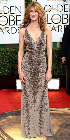 Golden Globes 2014: Arrivals : Laura Dern brought a little spice to the Red carpet! Love the intricate pattern and subtle color!