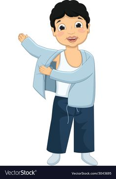 Boy Wearing Pajamas vector image on VectorStock Kids Education, Special Education, School Labels, Carson Dellosa, Action Words, Book Letters, Good Habits, Excercise, Get Dressed