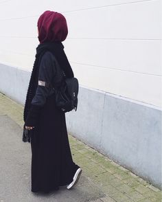 Hijab, love the burgundy with black