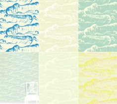 wave wallpaper - maybe an accent wall? Or could be great to line the back of a bookshelf for a pop of fun!