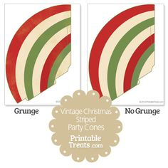 Free Vintage Christmas Striped Party Cones from PrintableTreats.com