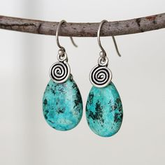 African Turquoise Sterling Silver Charm Dangle by TheGoosle