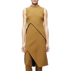 Narciso Rodriguez Sleeveless Angled-Seam Tunic Dress ($2,525) ❤ liked on Polyvore featuring dresses, dark sulfur, form fitted dresses, sleeveless asymmetrical dress, brown sleeveless dress, asymmetrical dress and form fitting dresses