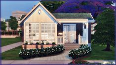 Melody Cottage 💙 The Sims 4 House Build Sims 4 House Plans, Sims 4 House Building, Sims 4 City Living, Tyni House, Sims 4 House Design, Casas The Sims 4, Sims 4 Cc Furniture, Small Cottages, Sims 4 Build