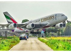 Emirates departing from Schiphol Airport, Netherlands Emirates Airline, Emirates Flights, Airbus A380, A380 Aircraft, Bomber Plane, Jet Plane, Airplane Photography, Passenger Aircraft, Cars