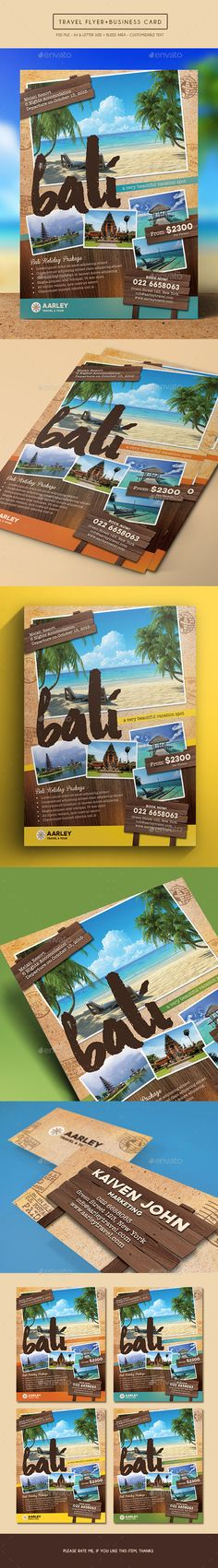 Buy Travel Flyer + Business Card by arifpoernomo on GraphicRiver. This Travel Flyer, can be used for promote your travel agency. Very easy to edit text, color, and change images via s. Banner Design, Flyer Design, Business Card Design, Business Cards, Banners, Leaflet Design, Promotional Flyers, Flyer Printing, Event Flyers