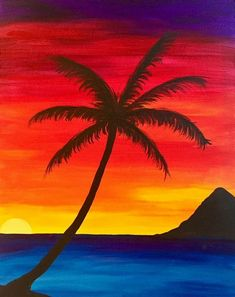 Palm Tree Painting Canvases Hands 36 New Ideas Easy Canvas Art, Simple Canvas Paintings, Oil Pastel Paintings, Oil Pastel Art, Small Canvas Art, Easy Canvas Painting, Watercolor Canvas, Palm Tree Paintings, Canvas Canvas