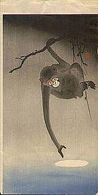 Ohara Koson Woodblock Print - Monkey / Moon SOLD (item #887274)