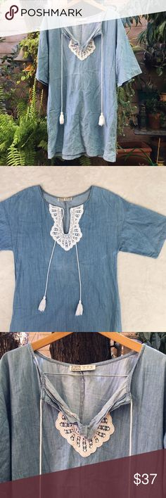 """Zara Denim Dress Zara denim dress. 20"""" across bust and approx 34"""" in length. Super cute with or without a belt. Perfect for summer! Made in Turkey. Zara Dresses"""