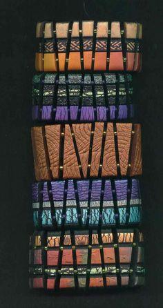 bracelets in Polymer clay tiles.