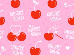 Pattern Illustration designed by Suzie Jurado. the global community for designers and creative professionals. Iphone Wallpaper Fall, Trendy Wallpaper, Cute Wallpapers, Fruit Illustration, Pattern Illustration, Cherry Bomb Tattoo, Cherry Baby, Cherry Cherry, Baby Girl Patterns