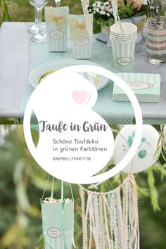 Grüne Taufdeko - lass dich inspirieren Place Cards, Place Card Holders, Table Decorations, Baby, Home Decor, Garlands, Dekoration, Girl Christening, Celebrations