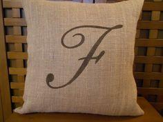 monogramed burlap pillows